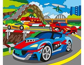 Роспись по холсту 25*30 Красивые машины Х-0392 + краски/Рыжий кот