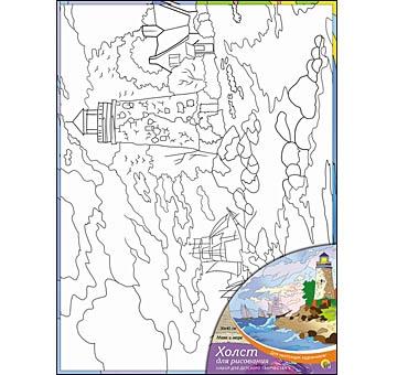 Роспись по холсту 30х40 Маяк и море Х-9840 + краски/Рыжий кот